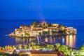 Night islet and hotel Sveti Stefan, Montenegro, Adriatic sea, Eu Royalty Free Stock Photo