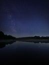 Night lake under milky way stars Royalty Free Stock Photo