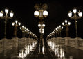 Night lamp post light ligh on the bridge on art Royalty Free Stock Photo