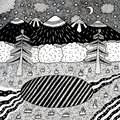 Night landscape with night forest, lake, trees, mountains, river. Hand drawn ink illustration. Coloring page for adults. Raster