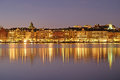 Night landscape with the image of Stockholm Royalty Free Stock Photo