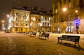 Night landscape of lvov ukraine january winter in the center Royalty Free Stock Photos