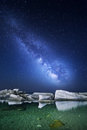 Night landscape with milky way at the sea. Starry sky Royalty Free Stock Photo