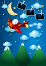 stock image of  Night landscape with mountains, airplane and photo frames