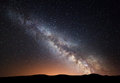Night landscape at mountains with colorful Milky Way Royalty Free Stock Photo