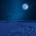 Night Landscape with Tire Trace Royalty Free Stock Photo