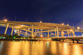 Night light bridge with river at bangkok thailand Stock Images