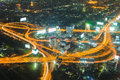 Night light, Highway intersection aerial view