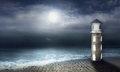 Night at the lighthouse beautiful artistic image with a sea and sky with moon Royalty Free Stock Image