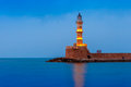 Night Lighthouse in old harbour, Chania, Crete Royalty Free Stock Photo