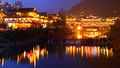 Night lighting constructions in the chinese village of ethnic mi guizhou province china april xijiang miao largest guizhou miao Stock Photography