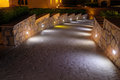 Night lighting path for walks in the hotel Royalty Free Stock Photo
