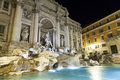 Night lighting of Trevi fountain in Rome Royalty Free Stock Photo