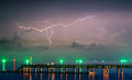 Night lightnings at huahin fishing pier thailand Royalty Free Stock Photography