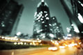 Night lights of the hong kong out focus Royalty Free Stock Photography