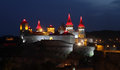 Night lights of Kamianets-Podilskyi castle Royalty Free Stock Photo