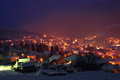 Night lights lovely and snowy view captured above teteven city bulgaria Stock Image
