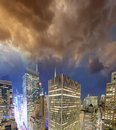 Night lights of Manhattan - Aerial view of New York City - USA Royalty Free Stock Photo