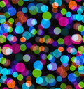 Night lights. Seamless bokeh vector background. Colorful transparent circle pattern on black backdrop.