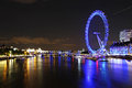 Night london cityscape with eye at england united kingdom Stock Photography