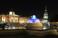 Night london trafalgar square at england united kingdom Royalty Free Stock Images