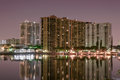 Night Long exposure of high rise condos in Miami beach canal Royalty Free Stock Photo