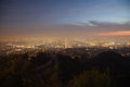 Night of los angeles panorama skyline angels viewed from griffith observatory in Stock Photo