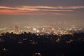 Night of los angeles panorama skyline angels viewed from griffith observatory in Royalty Free Stock Photos