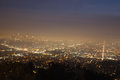 Night of los angeles panorama skyline angels viewed from griffith observatory in Stock Photography
