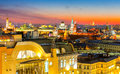 Night Moscow, type to the Moscow Kremlin, Christ the Savior Cathedral, the bell tower of St. John the Great, the university and on Royalty Free Stock Photo