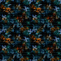 Night mysterious flowers, hand written letter text. Black background. Seamless pattern