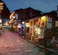 Night narrow street in small town yangshuo cafes restaurants guangxi china april lighting the tourist of south western china last Stock Photography