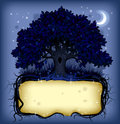 Night oak tree wih a banner