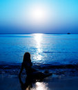 Night ocean with moon and moonlight reflection Royalty Free Stock Photo