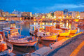 Night old harbour of Heraklion, Crete, Greece Royalty Free Stock Photo