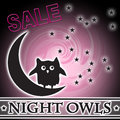 Night owls sale moon stars in sky logo with glowing pink swirl and can be used on flyers and catalogs Royalty Free Stock Images
