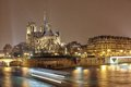 Night panorama of Cite island with cathedral Notre Dame de Paris Royalty Free Stock Photo