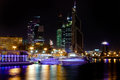 Night panorama of Moskva River with Moscow city Stock Photos