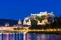 Night panorama salzburg austria Royalty Free Stock Image
