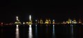 Night panorama scene of seaport container cargo freight Royalty Free Stock Photo
