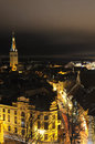 Night panorama on tallin old city estonia Stock Images