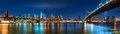 Night panorama with the Two Bridges Royalty Free Stock Photo