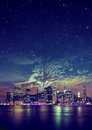 Night panoramic photo of the city, skyscrapers Royalty Free Stock Photo