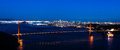 Night panoramic view of the Golden Gate Bridge in San Francisco Royalty Free Stock Photo