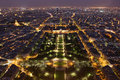Night of paris from the eiffel tower view Royalty Free Stock Photos