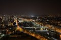 Night paris view of from the second tier of the eiffel tower Stock Photo