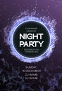 Night Party Dance Poster Background. Event celebration flyer. Futuristic technology style.