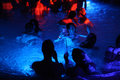 Night party in thermal bath in Budapest, Hungary. Royalty Free Stock Photo