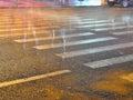 Night of pedestrian crosswalk ghost walking in a d Royalty Free Stock Images