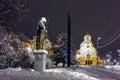Night photo of alexander nevsky square and tsar samuel monument sofia bulgaria Stock Image